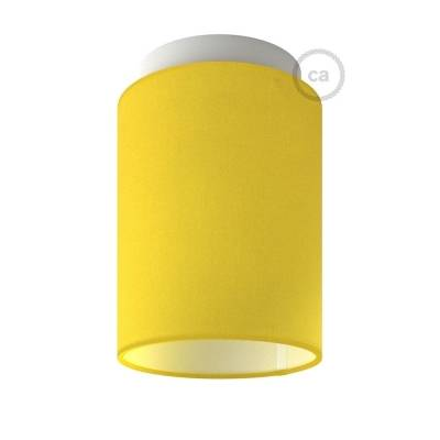 "Fermaluce with Bright Yellow Canvas Cylinder Lampshade, white metal, Ø 5.90"" h7.10"", for wall or ceiling mount"