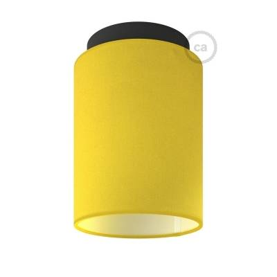 """Fermaluce with Bright Yellow Canvas Cylinder Lampshade, black metal, Ø 5.90"""" h7.10"""", for wall or ceiling mount"""