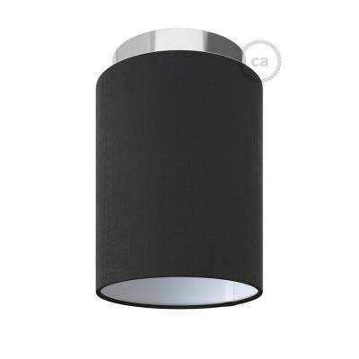 """Fermaluce with Black Canvas Cylinder Lampshade, chrome metal, Ø 5.90"""" h7.10"""", for wall or ceiling mount"""