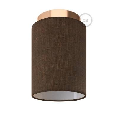 """Fermaluce with Brown Camelot Cylinder Lampshade, copper finish metal, Ø 5.90"""" h7.10"""", for wall or ceiling mount"""