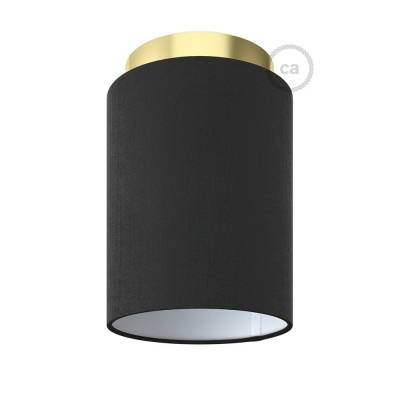 """Fermaluce with Black Canvas Cylinder Lampshade, brass finish metal, Ø 5.90"""" h7.10"""", for wall or ceiling mount"""