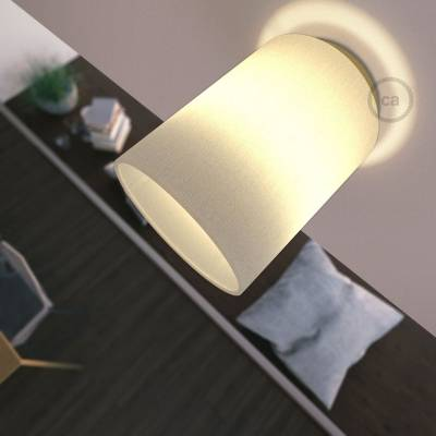 """Fermaluce with White Raw Cotton Cylinder Lampshade, brass finish metal, Ø 5.90"""" h7.10"""", for wall or ceiling mount"""