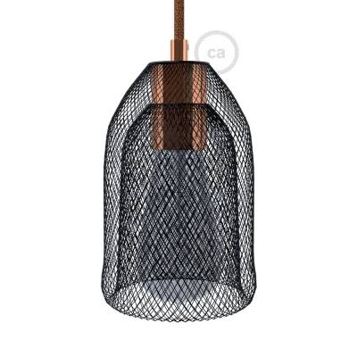Naked light bulb cage lampshade GhostBell Black colored metal with E26 coppered metal socket kit