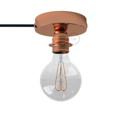 Spostaluce, the coppered metal light source with E26 threaded socket, fabric cable and side holes