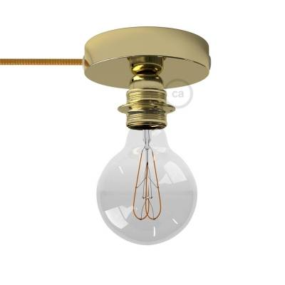 Spostaluce, the brass metal light source with E26 threaded socket, fabric cable and side holes