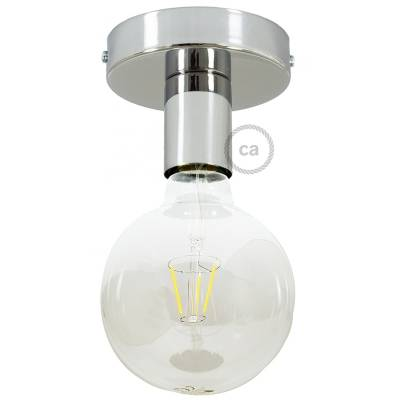 Fermaluce, the chrome metal wall or ceiling light source.