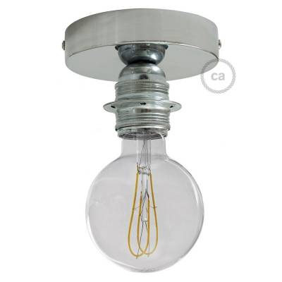 Fermaluce Chrome metal finish, with E26 threaded lamp holder, the metal wall or ceiling light source