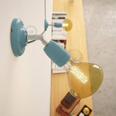 Fermaluce Classic 90° Light Blue adjustable, porcelain wall flush light
