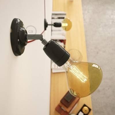 Fermaluce Classic 90° Black adjustable, porcelain wall flush light