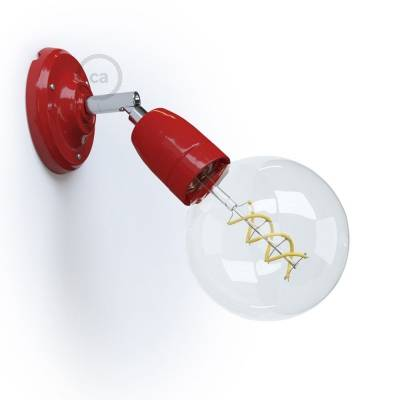 Fermaluce Classic 90° Red adjustable, porcelain wall flush light