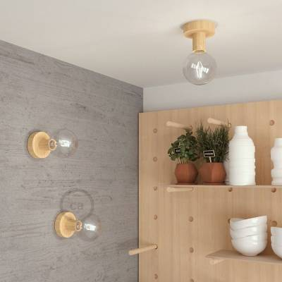"""Natural Fermaluce, the natural wood flush light for your wall or ceiling, 3.8""""."""