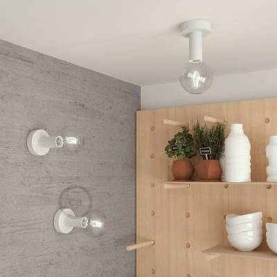 """Natural Fermaluce, the white painted wooden flush light for your wall or ceiling, 5.6""""."""