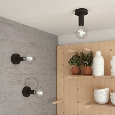 """Natural Fermaluce, the black painted wooden flush light for your wall or ceiling, 5.6""""."""