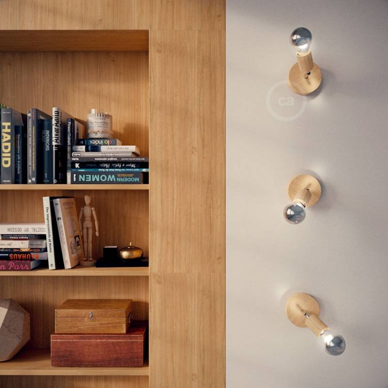 """Fermaluce Natural 90°, the adjustable natural wood flush light for your wall or ceiling, 6.2""""."""