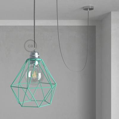 Swag Lamp Pendant Light with Turquoise Diamond light bulb cage & Gray Natural Linen (RN02) cloth covered wire