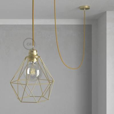 Swag Lamp Pendant Light with Brass Diamond light bulb cage & Gold Glitter (RL05) cloth covered wire