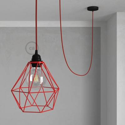 Swag Lamp Pendant Light with Red Diamond light bulb cage & Red & Black (RT94) cloth covered wire