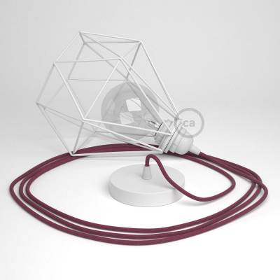 Swag Lamp Pendant Light with White Diamond light bulb cage & Raspberry Cotton (RC32) cloth covered wire