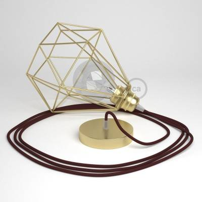 Swag Lamp Pendant Light with Brass Diamond light bulb cage & Raspberry Rayon (RM19) cloth covered wire