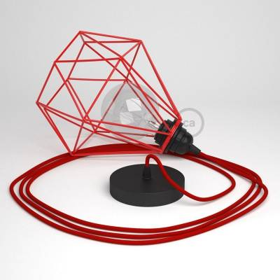 Swag Lamp Pendant Light with Red Diamond light bulb cage & Red Rayon (RM09) cloth covered wire