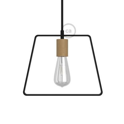 Metal Duedi Base lampshade - Black with wooden socket cover and E26 socket