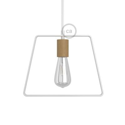 Metal Duedi Base lampshade - White with wooden socket cover and E26 socket