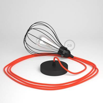 Pendant Light with Black Drop cage - (RF15) Neon Orange Rayon cable