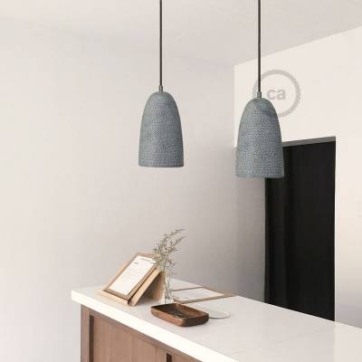 Opaque grey metal 1000fori Lampshade with cable retainer and E26 socket