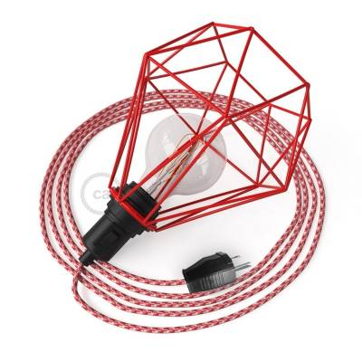 Table Snake - Table Lamp with Red Diamond light bulb cage