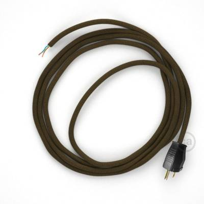 Cord-set - RC13 Brown Cotton Covered Round Cable