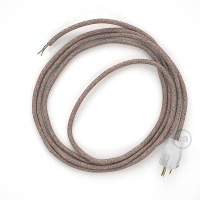Cord-set - RD61 Natural & Pink Linen CrissCross Covered Round Cable