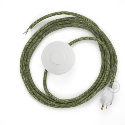 Power Cord with foot switch, RD72 Natural & Thyme Green Linen Chevron - Choose color of switch/plug