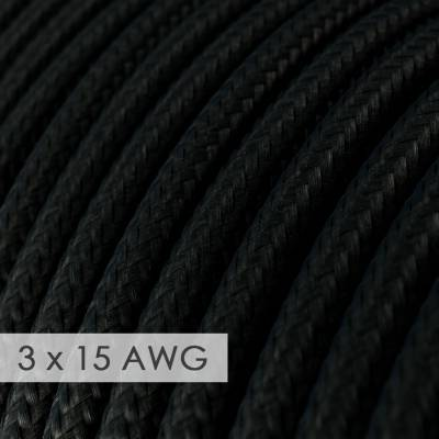 Extension Cord - Round Black Rayon RM04 - 15/3 AWG