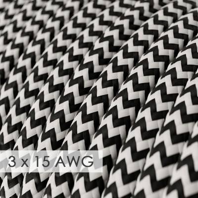 Extension Cord - Round Chevron Black Rayon RZ04 - 15/3 AWG