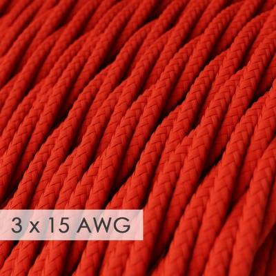 Extension Cord - Twisted Red Rayon TM09 - 15/3 AWG