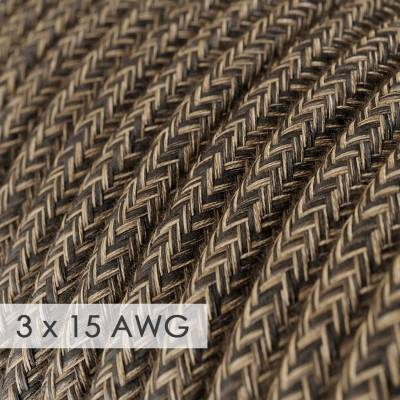Extension Cord - Round Brown Linen RN04 - 15/3 AWG