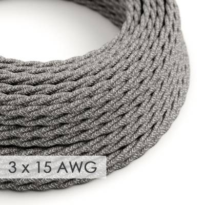 Extension Cord - Twisted Gray Linen TN02 - 15/3 AWG