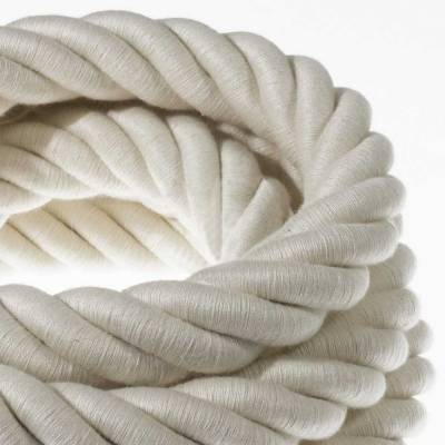 3XL Rope electrical wire 18/3 AWG wire inside. Raw Cotton Fabric. 30mm.
