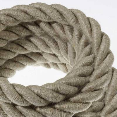 2XL Rope electrical wire 18/3 AWG wire inside. Natural Linen Fabric. 24mm.