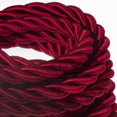 2XL Rope electrical wire 18/3 AWG wire inside. Shiny Dark Bordeaux Fabric. 24mm.