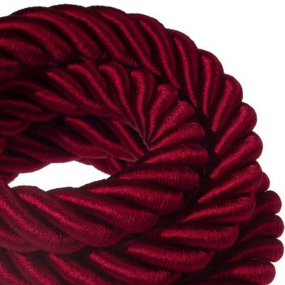 3XL Rope electrical wire 18/3 AWG wire inside. Shiny Dark Bordeaux Fabric. 30mm.