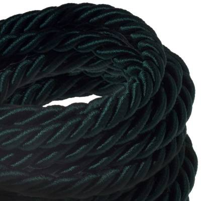 XL Rope electrical wire 18/3 AWG wire inside. Shiny Dark Green Fabric. 16mm.