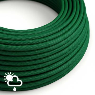 Outdoor round electric cable covered in Dark Green Rayon SM21