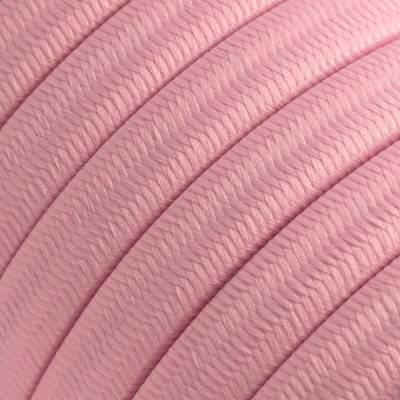 Electric Cable Color Cord for Custom String Lights, covered by Rayon fabric Baby Pink (CM16)