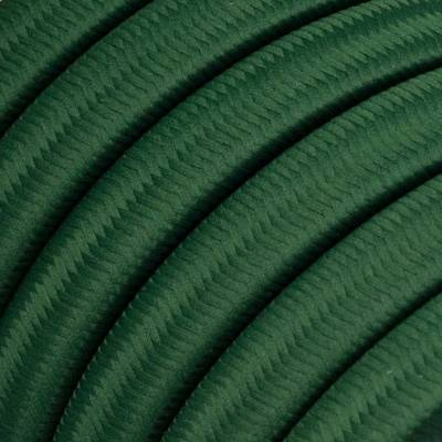 Electric Cable Color Cord for Custom String Lights, covered by Rayon fabric Dark Green (CM21)