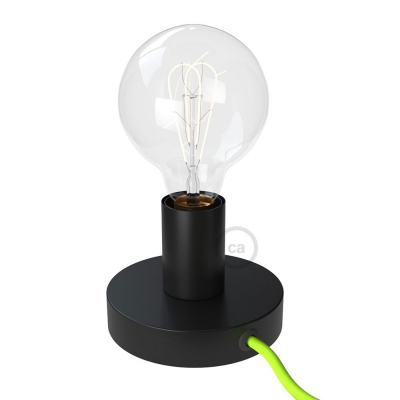 Posaluce, the black metal table lamp, with textile cable, switch and plug
