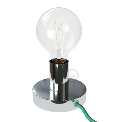 Posaluce, the chrome metal table lamp, with textile cable, switch and plug