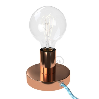 Posaluce, the coppered metal table lamp, with textile cable, switch and plug