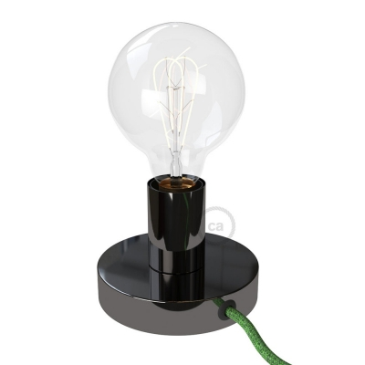 Posaluce, the black pearl metal table lamp, with textile cable, switch and plug