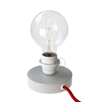 Posaluce, the white metal table lamp for lampshade, with textile cable, switch and plug